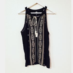 Bobeau Tassel Tie Front Embroidered Sleeveless Top